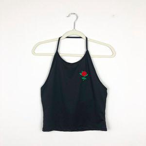 Tops - Black Crop Halte Top with Rose
